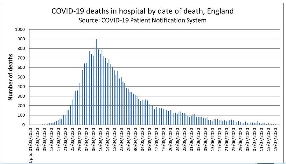 covid deaths in English hospitals until 19 July 2020