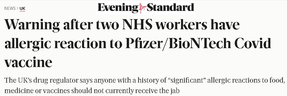Evening standard headline: warning after 2 NHS workers have allergic reactions to Pfizer  covid vaccine