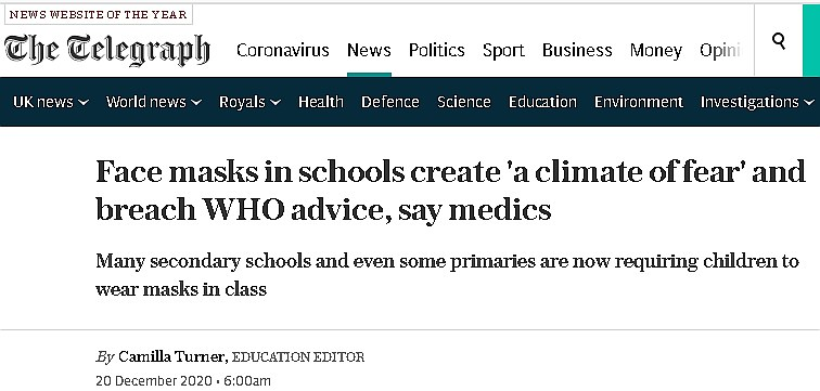 Telegraph headline: face masks in schools  create a climate of fear