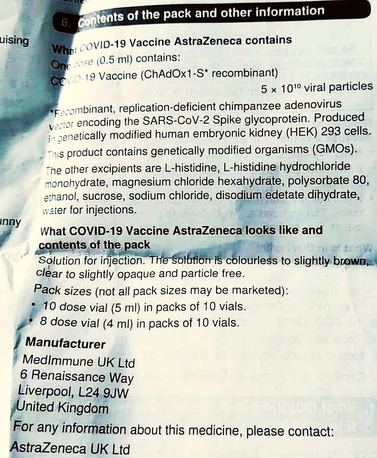 part of printed patient information of the ChAdOx1-S covid-19 vaccine from Astra Zeneca January 2021
