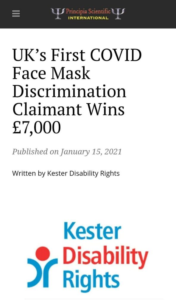 UK's 1st Covid face mask discrimination claimant wins £7000