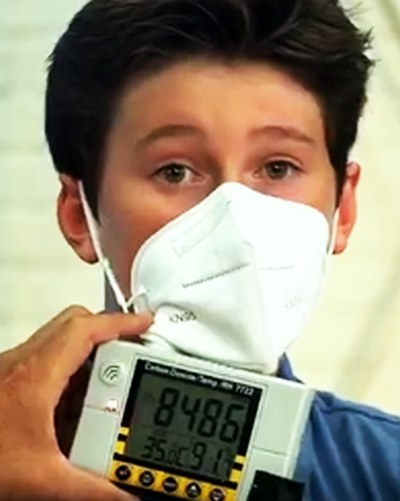 Test showing the CO2 level under a face mask is above the 5000 ppm level for safe work places