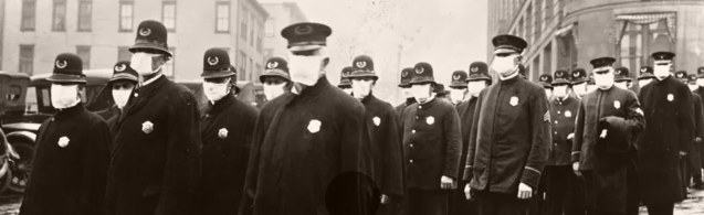 police wearing face masks during spanish flu